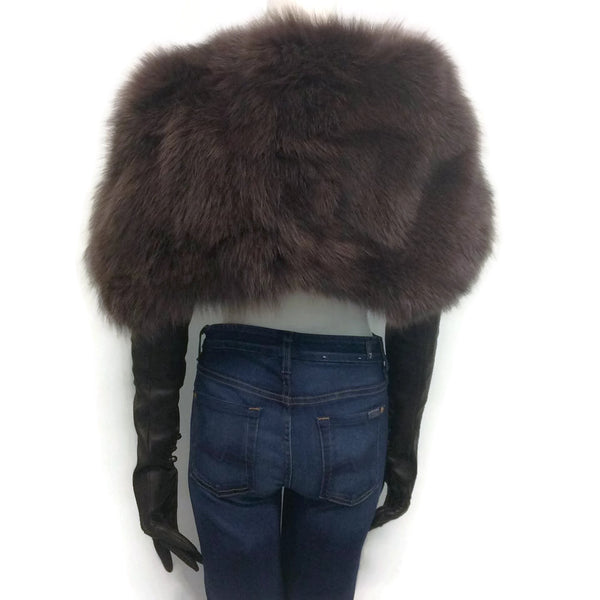 Nina Ricci Autumn/ Winter 2012 Runway Fox Fur Shawl Attached Leather Gloves Cape