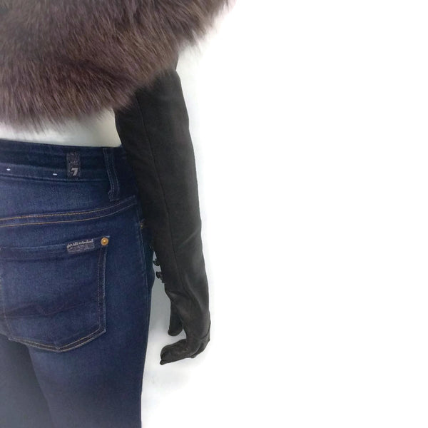 Nina Ricci Autumn/ Winter 2012 Runway Fox Fur Shawl Attached Leather Gloves