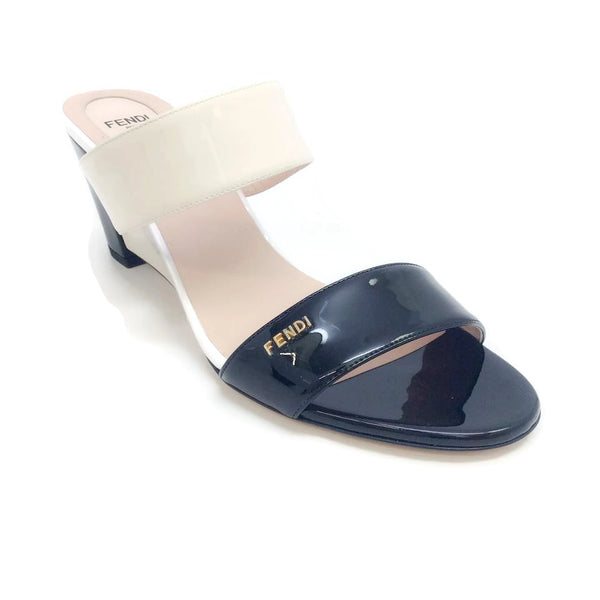Fendi 8x5243 Patent Black / White Sandals