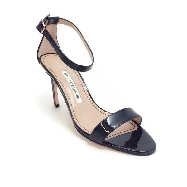 Manolo Blahnik Chaos Ankle Strap Black Sandals
