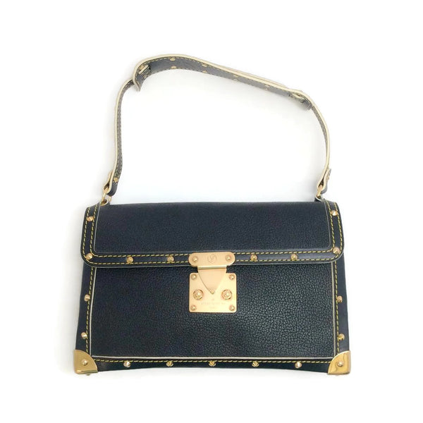 "Louis Vuitton Black Suhali Leather Studded ""L'Aimable"" Shoulder Bag"