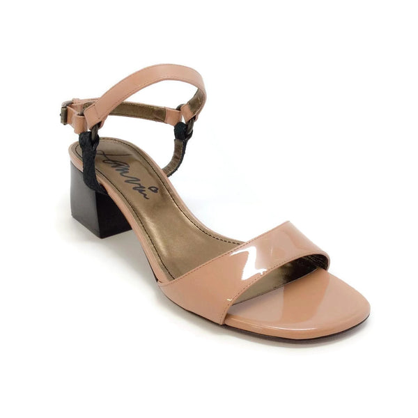 Lanvin Mila Patent Leather Nude Sandals