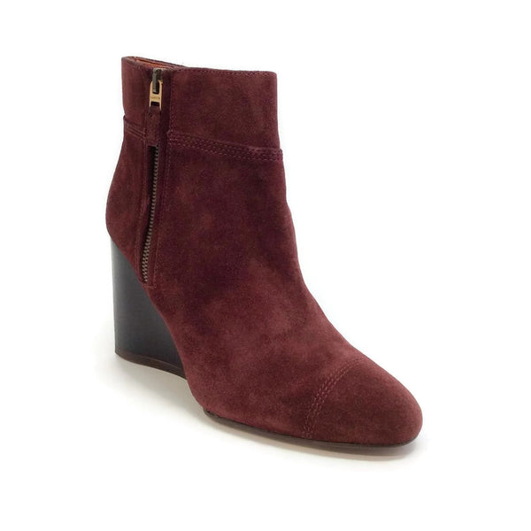 Lanvin Suede Wedge Ankle Burgundy Boots
