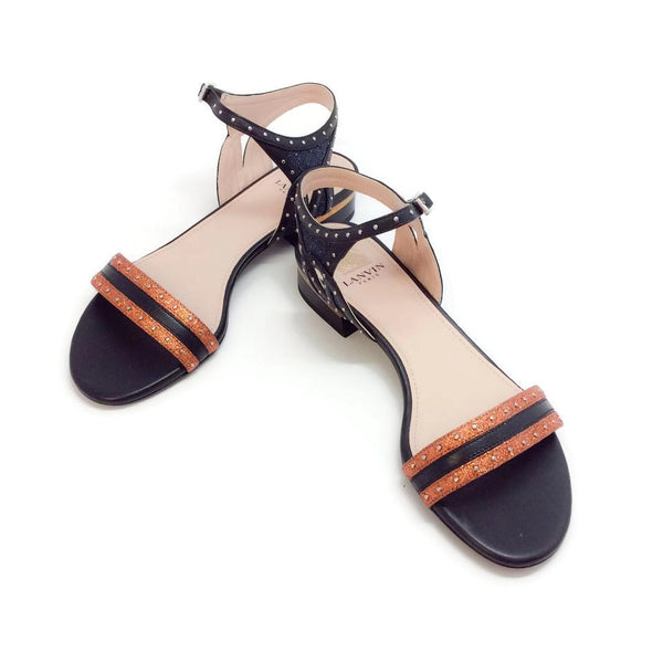 Lanvin Flat With Studs Metallic Orange Sandals