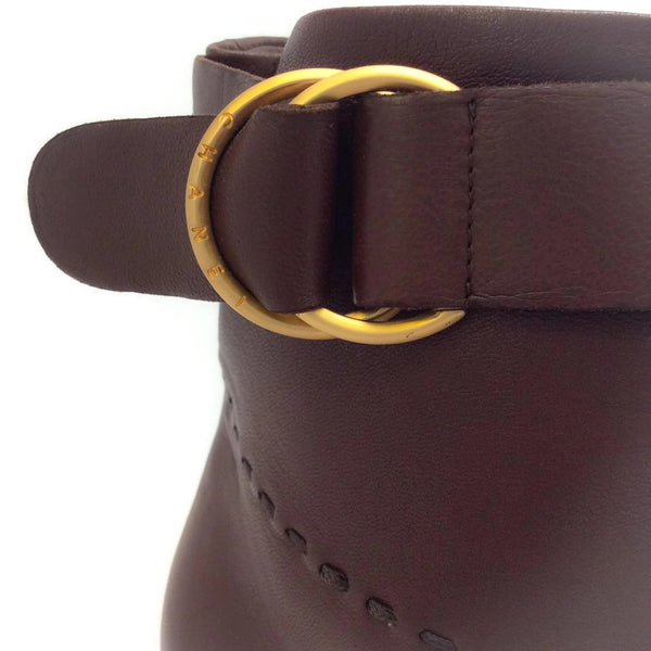 Chanel Brown Boots With Brushed Gold Buckle