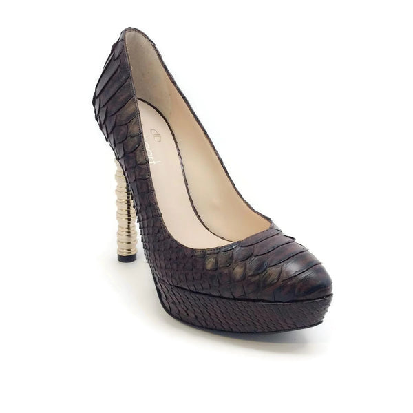 Julia Haart Python Platform Brown Pumps