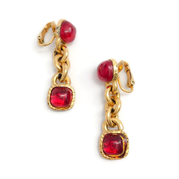 Chanel Vintage 1970's Red Gripoix Drop Earrings