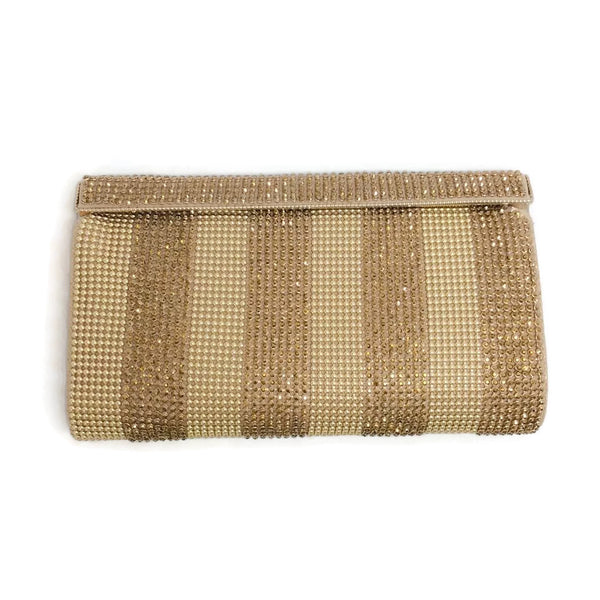 Sondra Roberts Crystal And Mesh Gold Clutch