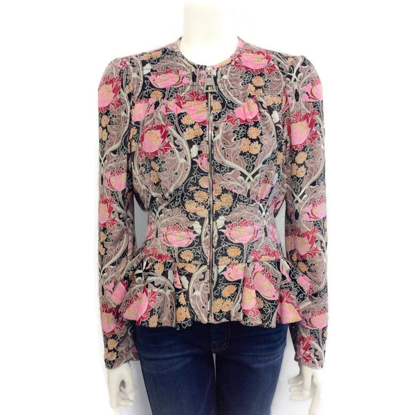 Louis Vuitton Velvet Floral Peplum Jacket Cardigan