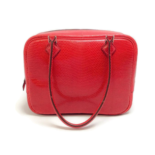 Hermès Red Lizard Skin Leather Plume 20 Palladium