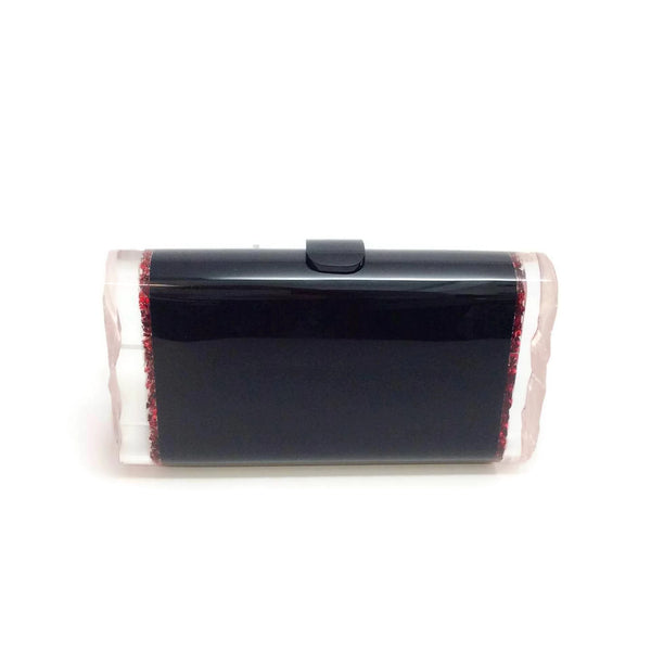 Edie Parker Black / Red Acrylic Lara Backlit Clutch, front