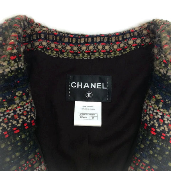 Chanel Olive / Navy / Red Classic Boucle Jacket, size