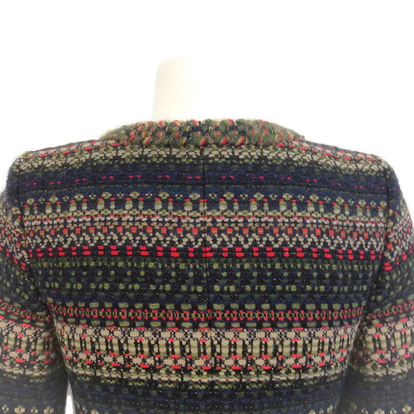 Chanel Olive / Navy / Red Classic Boucle Jacket, back shoulders