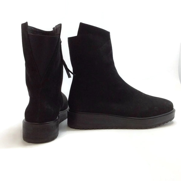 Claetyn Wood Black Suede Boots, right outside