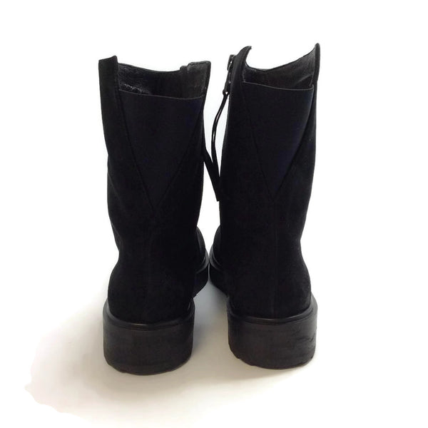 Claetyn Wood Black Suede Boots, back