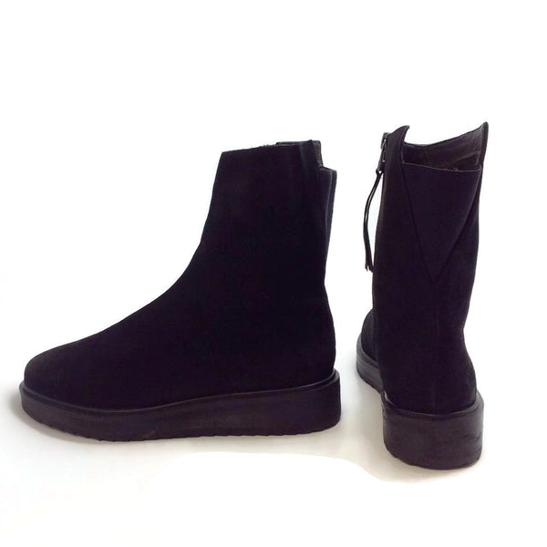Claetyn Wood Black Suede Boots, left outside