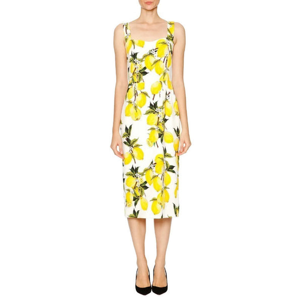 Dolce&Gabbana Yellow / White / Green Lemon Print Cocktail Dress, stock photo
