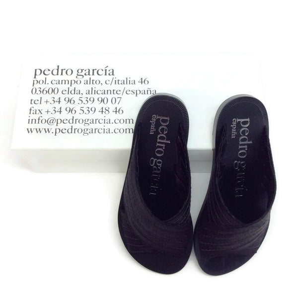 Pedro Garcia Black Criss-cross Satin Sandals, box