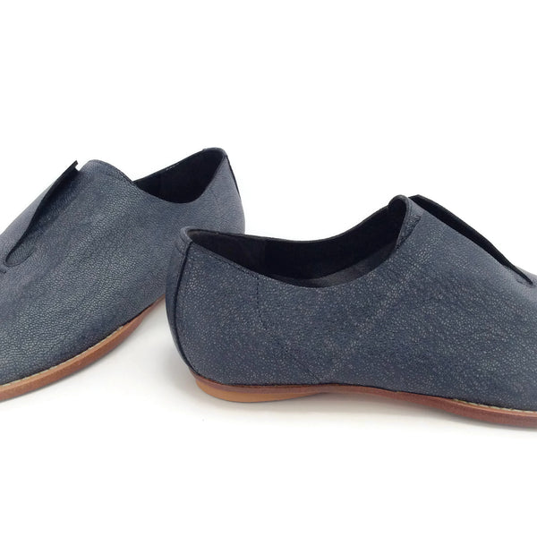 Zero + Maria Cornejo Denim Leather Peep Toe Flats
