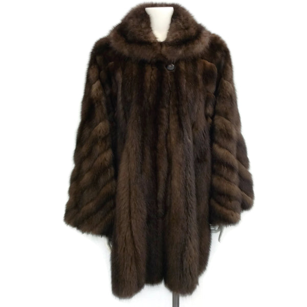 J. Mendel Brown Woven Sable Fur Coat