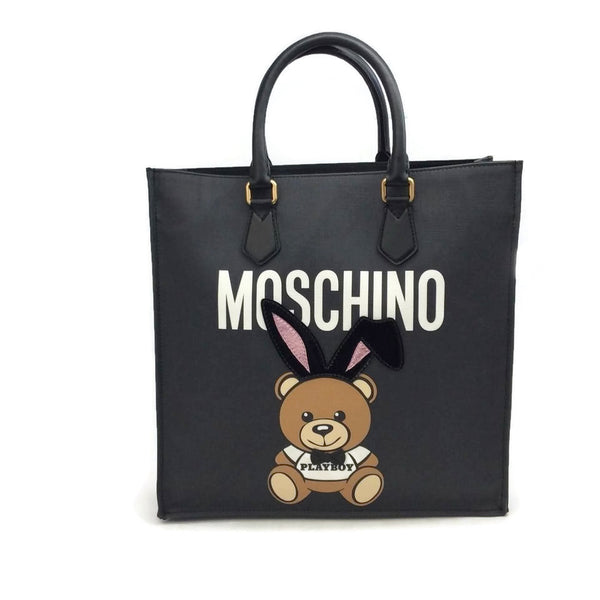 Moschino Black Coated Canvas Playboy Bunny Tote front