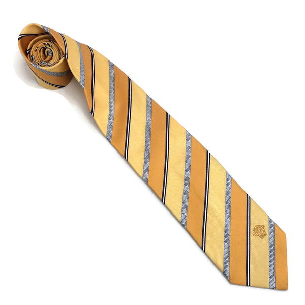 Versace Silk Striped Tie with Greek Key Detail