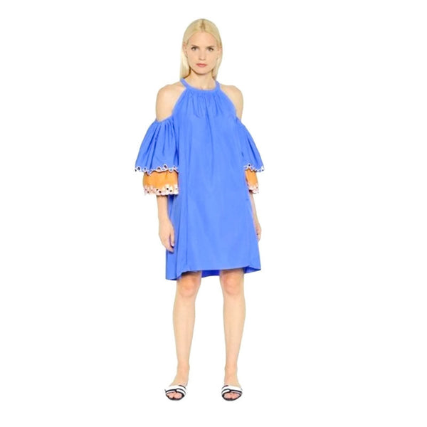 Peter Pilotto Cotton Embroidered Blue Off the Shoulder Mini Dress