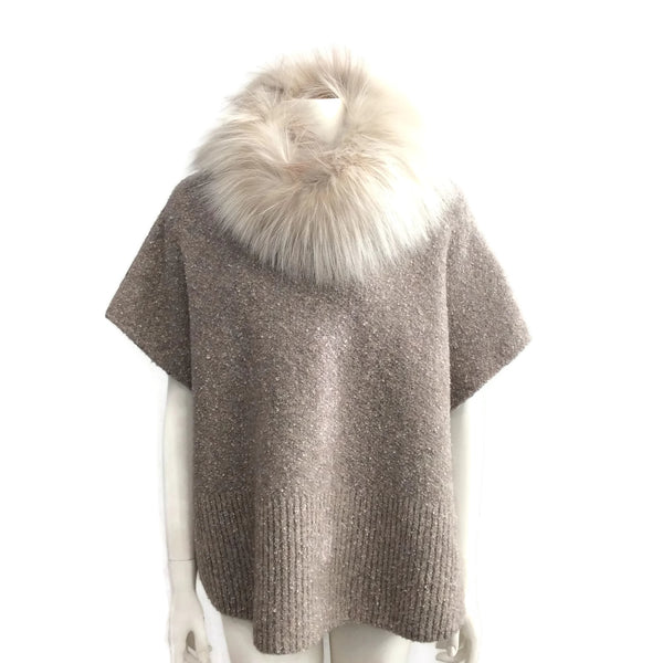 Fabiana Filippi Beige Sweater with Fur Collar