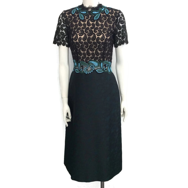 MARY KATRANTZOU Black / Green Lamur Paisley and Lace Midi Cocktail Dress
