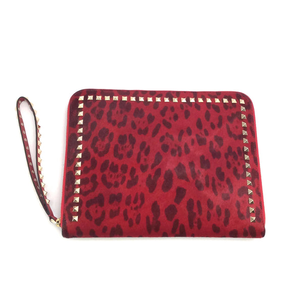 Valentino Red Rockstud Leopard Print Zip-around iPad Case