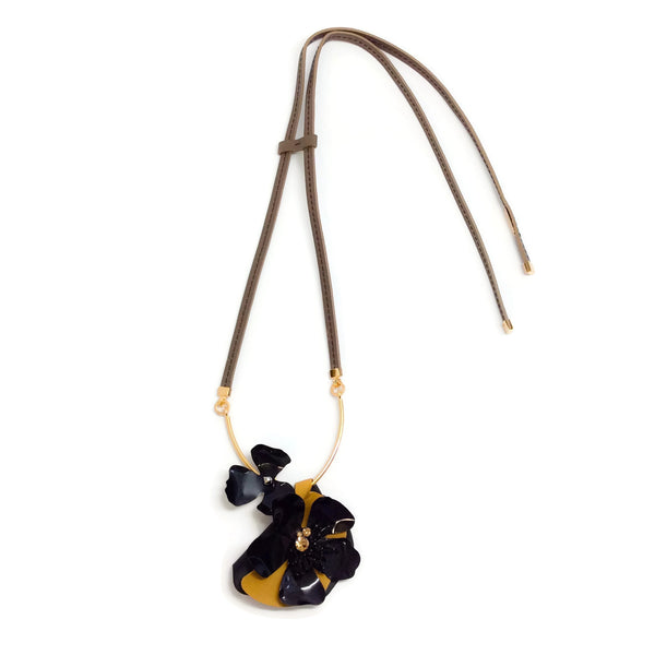 Marni Sunflower Leather Lariat Necklace
