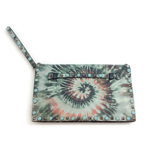 Valentino Multicolor Leather Rockstud Rolling Tie Dye Clutch