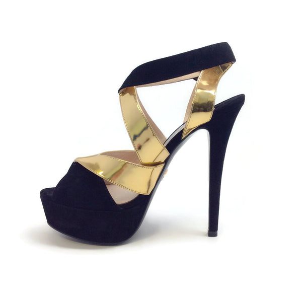 Prada Black Gold Criss-cross Platform Sandal