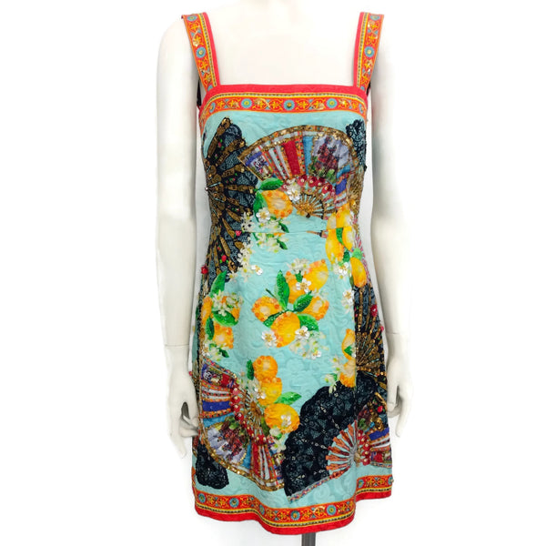 Dolce&Gabbana Multicolor Sequined Fan Casual Dress