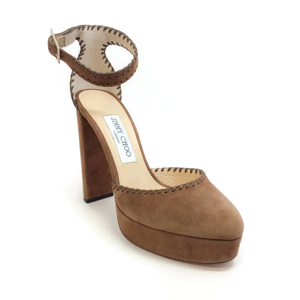 Jimmy Choo Khaki Brown Daphne Platform Pumps