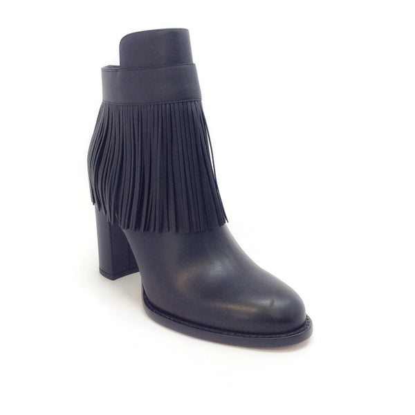 Valentino Black Fringe Accented Ankle Boots