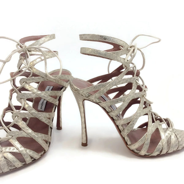 Tabitha Simmons Metallic Ayers Lark Sandals