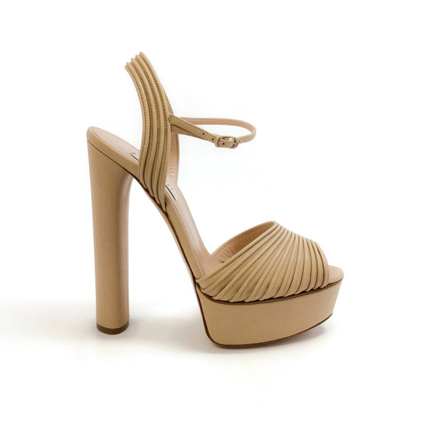 Casadei Camel Pleated Platform Sandals