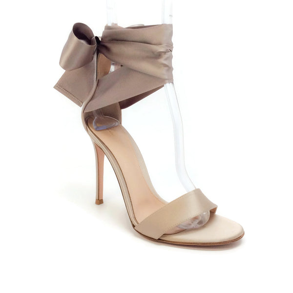 Gianvito Rossi Bisque Gala Satin Evening Sandals