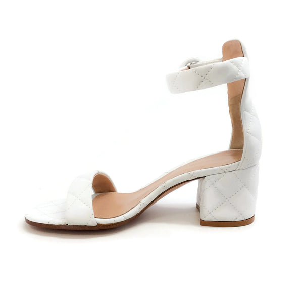 Gianvito Rossi White Versilia Driver Mid Quilted Sandals