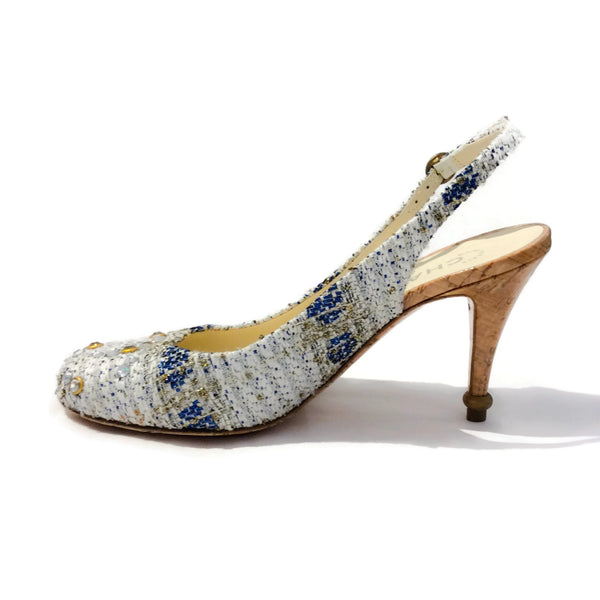 Chanel White / Blue Tweed Crystal and Cork Pumps