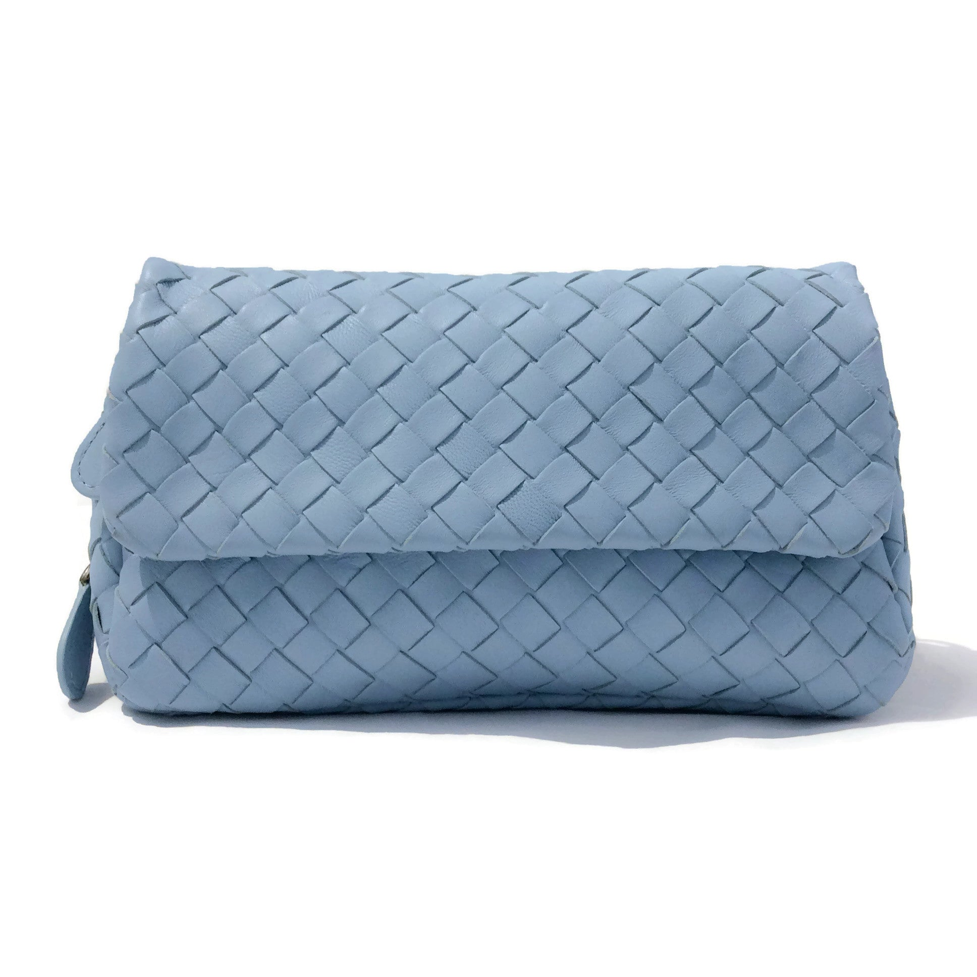 Bottega Veneta Light Blue Leather Small Woven Clutch / Cross Body Bag