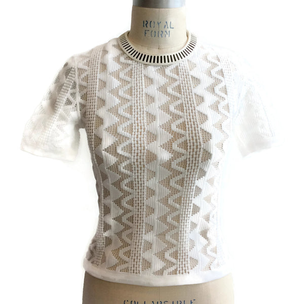 Louis Vuitton White Crochet and Perforated Leather Top