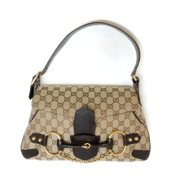 Gucci Brown Canvas Logo Shoulder Bag