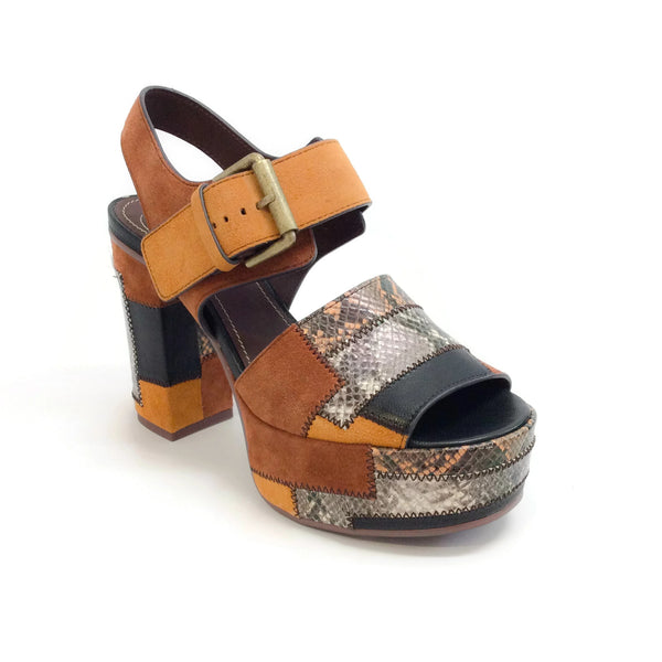 See by Chloé Tan Multi Sb28184 Patchwork Platform Sandals