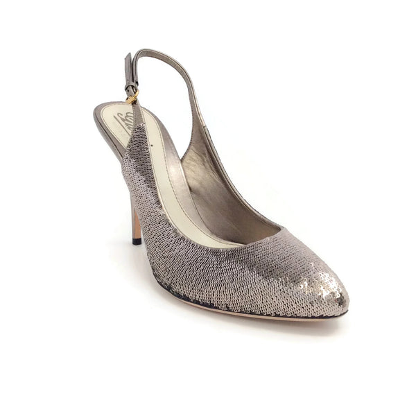 Gucci Taupe Sequin Slingback Pumps