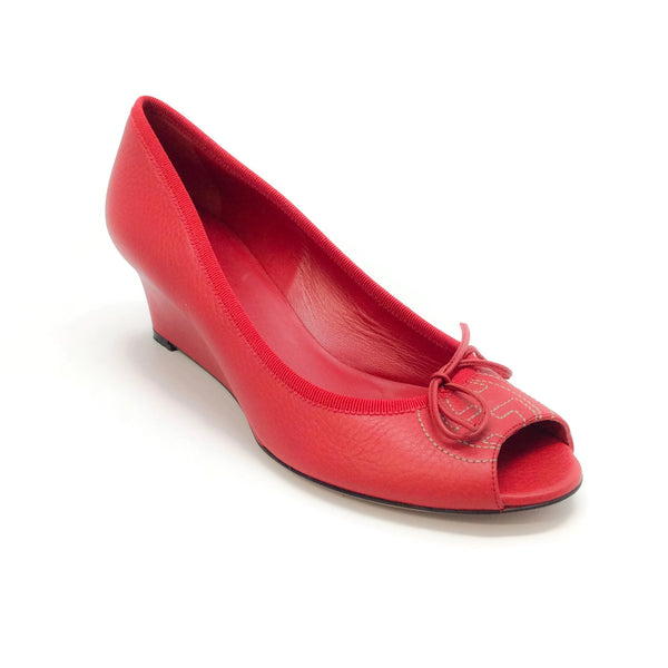 Gucci Red Cellarius Leather Peep Toe Wedges