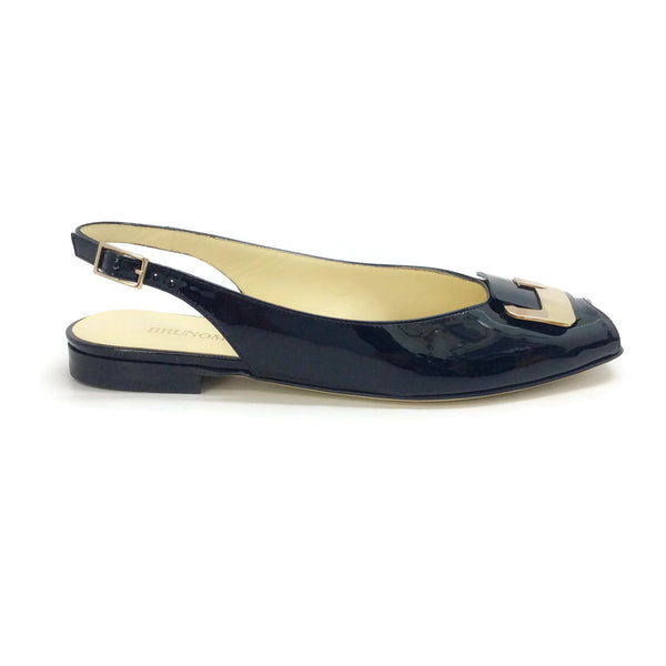 Bruno Magli Black Peep Toe with Gold Buckle Flats