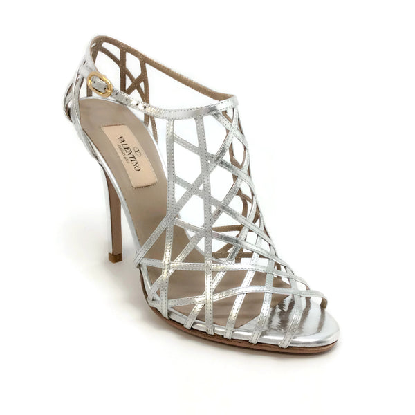 Valentino Silver Metallic Caged Sandals