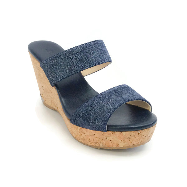 Jimmy Choo Denim Parker & Cork Wedge Sandals